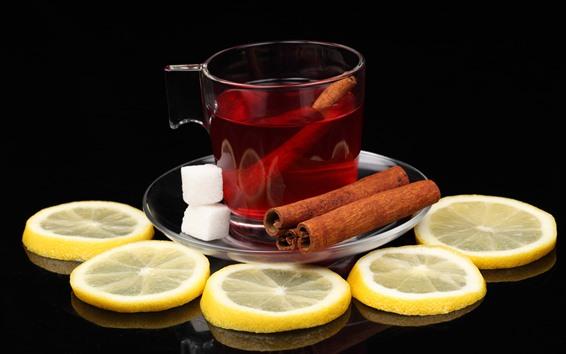 Fondos de pantalla Té, rodaja de limón, canela