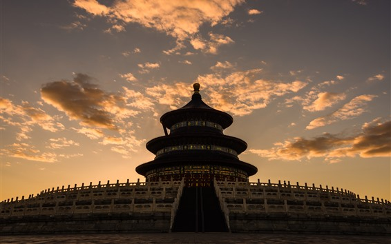 Wallpaper Temple of Heaven, dusk, clouds, Beijing, China
