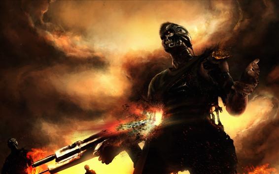 Fondos de pantalla Terminator, robot, arma, nubes