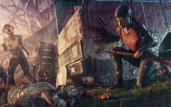 Wallpaper The Last of Us, girl, rain