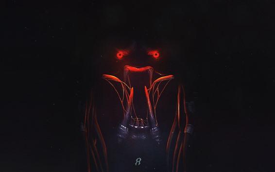 Обои Хищник 2018, зубы, красные глаза, темнота