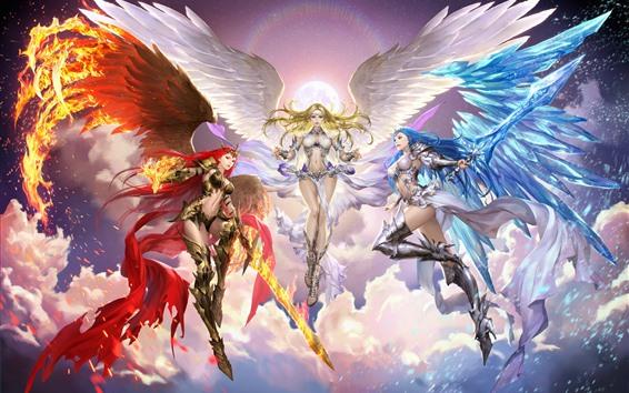 Wallpaper Three angel girls, wings