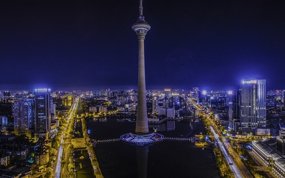 Fondos de pantalla Tianjin, China, ciudad, torre, noche, luces
