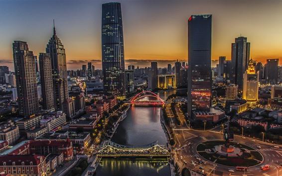 Fondos de pantalla Tianjin, noche de la ciudad, río, puente, rascacielos, estilo HDR, China