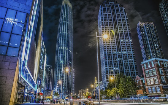 Fondos de pantalla Tianjin, rascacielos, ciudad, calle, luces, noche, China