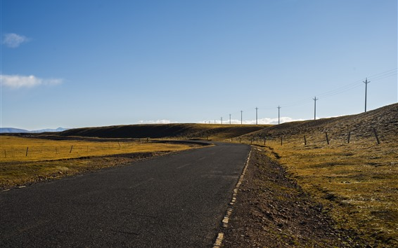 壁紙 チベット、道路、山、送電線、青空