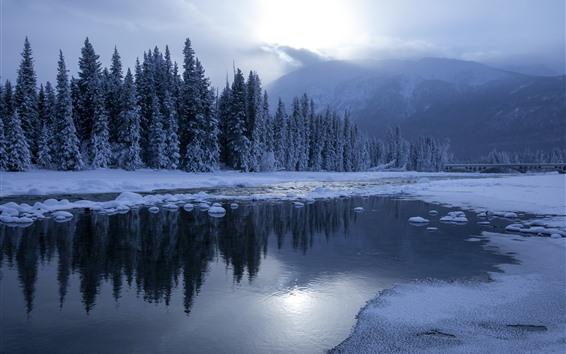 Papéis de Parede Viaje a Kanas, inverno, neve, árvores, Rio, luz do sol, montanha, China