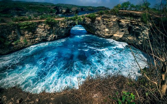 Fondos de pantalla Viaje a la isla de Nusa Penida, mar, olas, arco