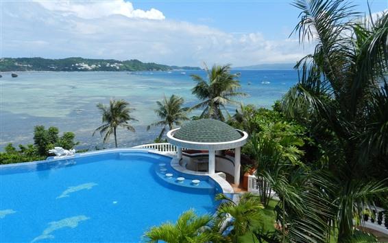 Fondos de pantalla Tropical, Resort, mar, gazebo, palmeras, piscina