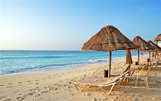 壁紙 トロピカル、海、ビーチ、椅子、傘