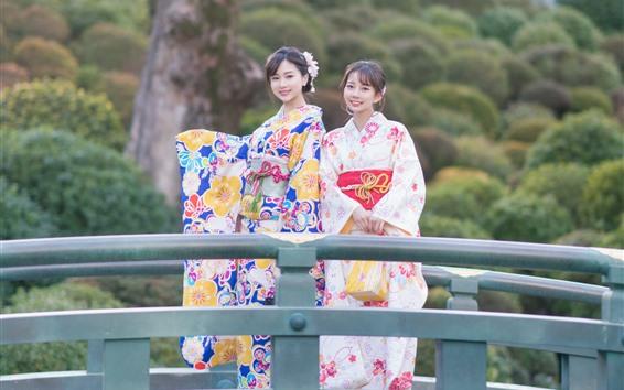 Wallpaper Two Japanese girl, smile, kimono, bridge