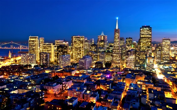 Wallpaper USA, California, city, night, skyscrapers, lighting