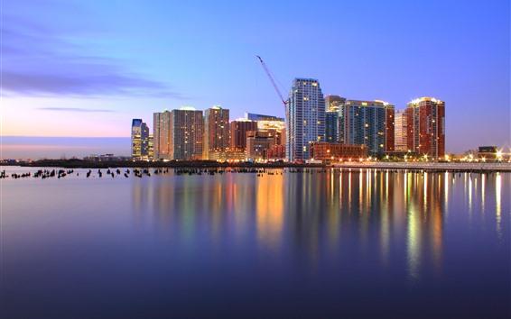 Fondos de pantalla EEUU, Jersey, rascacielos, luces, río, atardecer