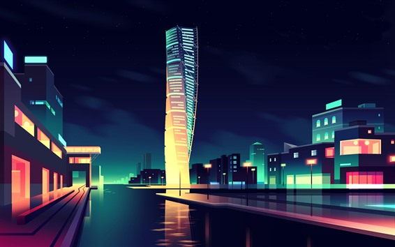 Wallpaper Vector picture, city, skyscrapers, colors, night