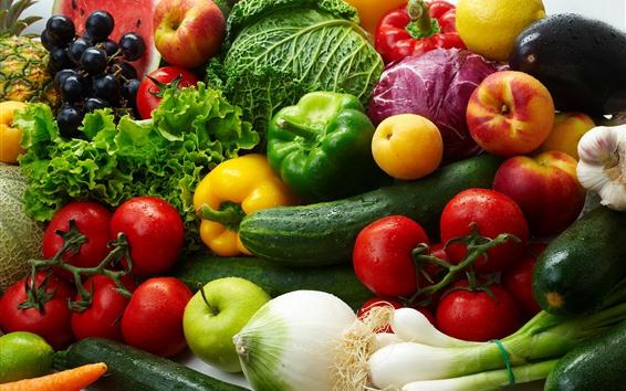 Fondos de pantalla Verduras y frutas, repollo, pimientos, tomates, manzanas, melocotón.