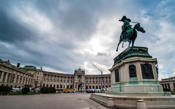 Papéis de Parede Viena, Áustria, quadrado, estátua, cidade