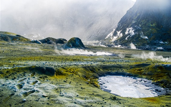 배경 화면 화산, 간헐천, 웅덩이, 증기