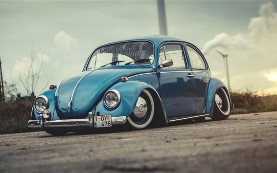 Wallpaper Volkswagen Beetle 1972 blue car