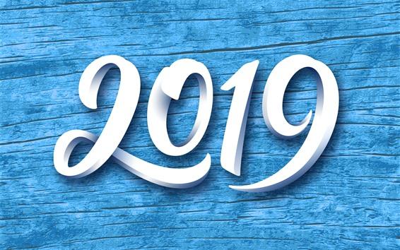Fondos de pantalla Blanco 2019, año nuevo, fondo azul