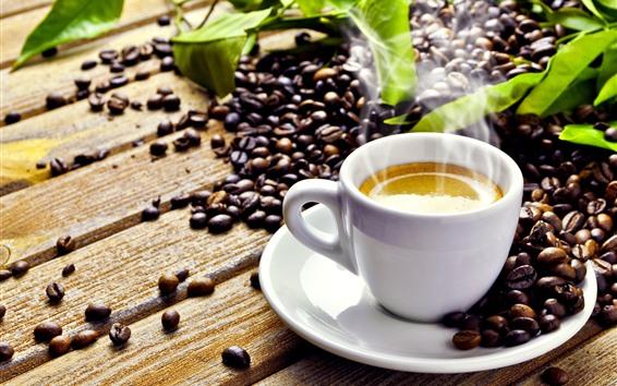 Fondos de pantalla Taza blanca de café, vapor, bebidas.