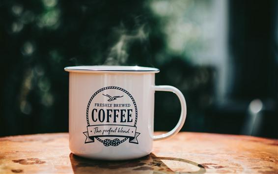 Fondos de pantalla Taza blanca, café, vapor