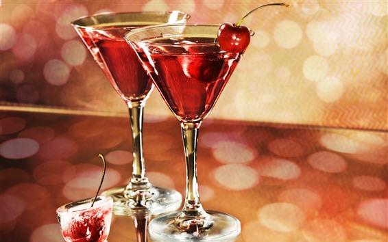 Papéis de Parede Vinho, copos de vidro, cereja