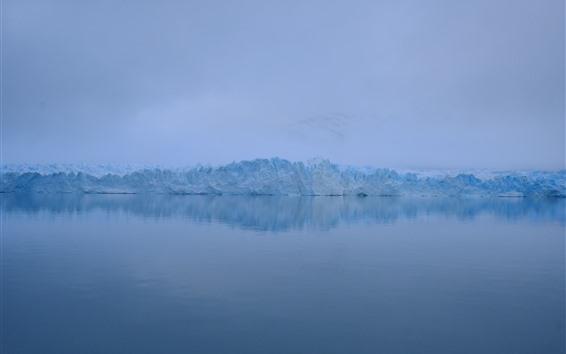 Fond d'écran Hiver, glace, brouillard, lac, aube