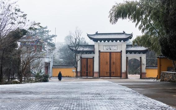 Wallpaper Winter, snow, park, gate, trees