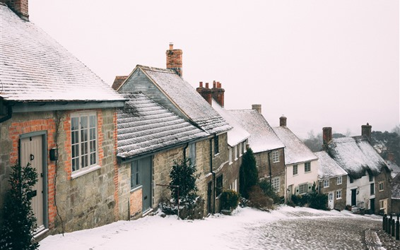 Fondos de pantalla Invierno, nieve, ciudad, carretera, casas, pendiente
