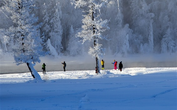 Fondos de pantalla Invierno, nieve espesa, árboles, gente, Kanas, China