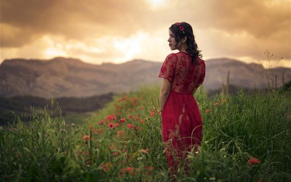Wallpaper Woman, look, wildflowers, clouds