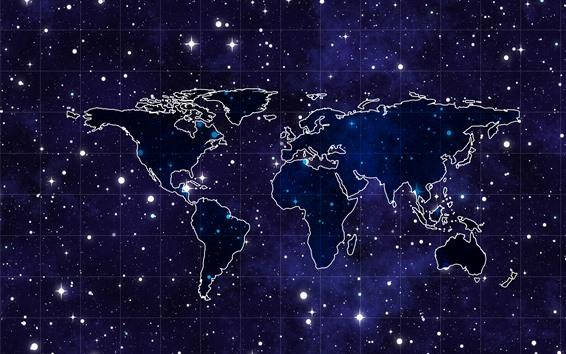 壁紙 世界地図、星空、スペース