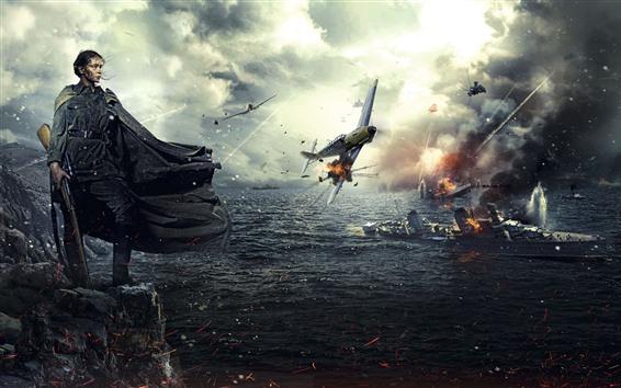 Wallpaper World War II, girl, ship, fighter, PS4 game