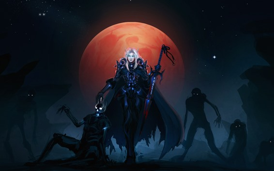 Обои Мир Warcraft, WOW, девушка, меч, Луна
