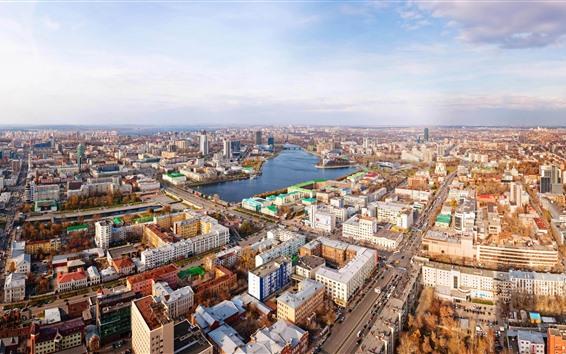 Fondos de pantalla Ekaterimburgo, ciudad, calle, río, casas, Rusia