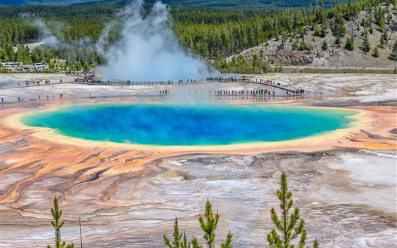Fondos de pantalla Parque Nacional de Yellowstone, Estados Unidos, lago, vapor, árboles, personas