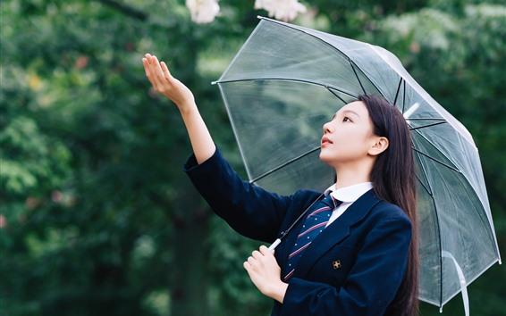 Fondos de pantalla Chica China joven, pelo largo, paraguas, flores