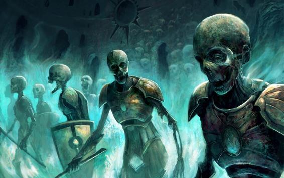 Обои Зомби, череп, воин, художественная картинка