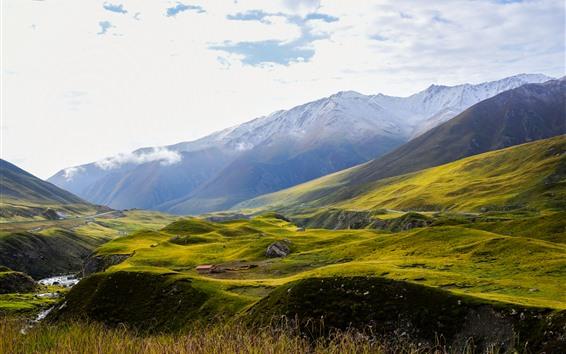 배경 화면 아니마칭 설 산, 경사면, 녹색, 구름, 중국