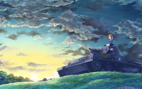 Wallpaper Anime girl and tank, clouds