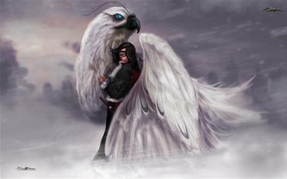 Обои Картина искусства, девушка и большая птица