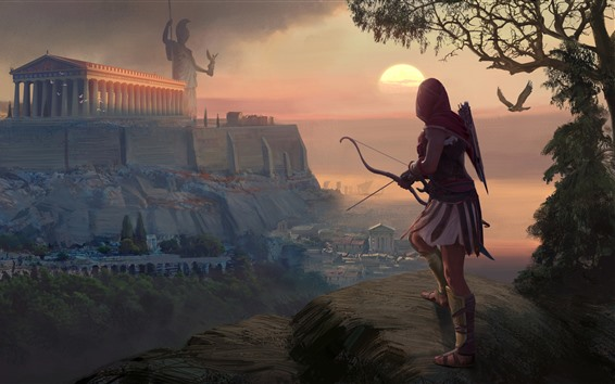 Wallpaper Assassin's Creed: Odyssey, girl, archer, Greece, art picture
