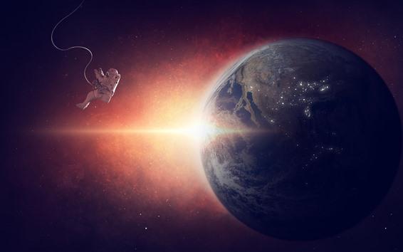Fondos de pantalla Astronauta, tierra, espacio, ingravidez, luz solar.