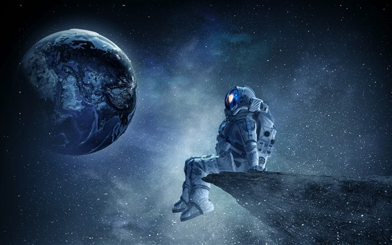 Wallpaper Astronaut, planet, stars, beautiful space