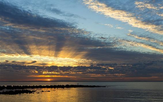 Papéis de Parede Austrália, Queensland, mar, por do sol, céu, nuvens