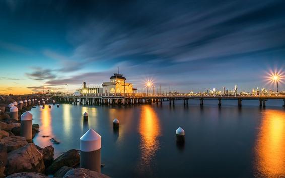 Papéis de Parede Austrália, doca, luzes, noite, rio