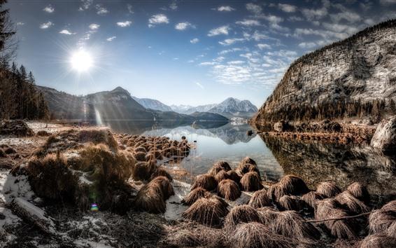 Wallpaper Austria, Altaussee, lake, mountains, plants, sunshine
