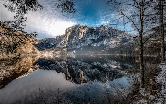 Fondos de pantalla Austria, Altaussee, montañas, árboles, lago, reflejo de agua