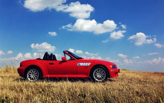Обои BMW Z3 красный кабриолет, трава
