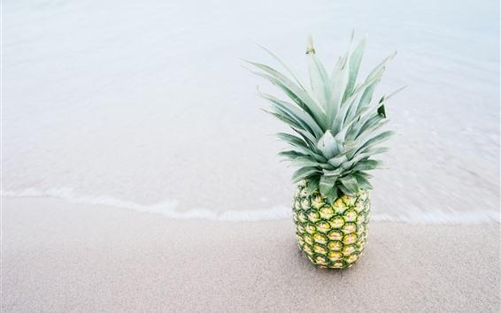 배경 화면 해변, 바다, 파인애플, 과일